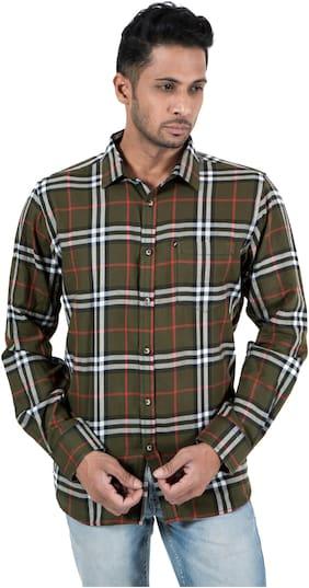 Men Slim Fit Plaid Casual Shirt