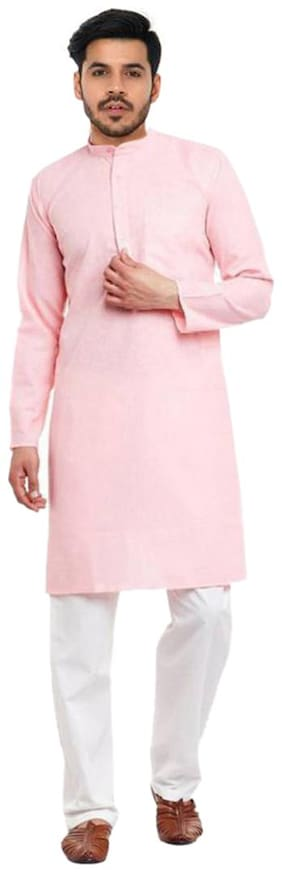 Men Solid Straight Kurta XL (Pink)