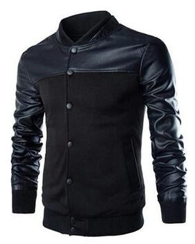 Men Cotton Blend Jacket - Black