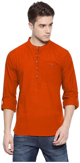 Riders Men Orange Regular Fit Kurta