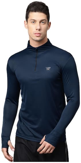 WC RIGHT Men Blue Body fit Uv protective Sports T-Shirt