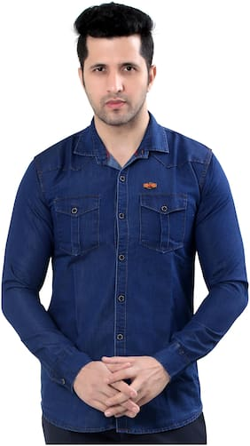 Private Image Men Blue Solid Slim Fit Casual Shirt