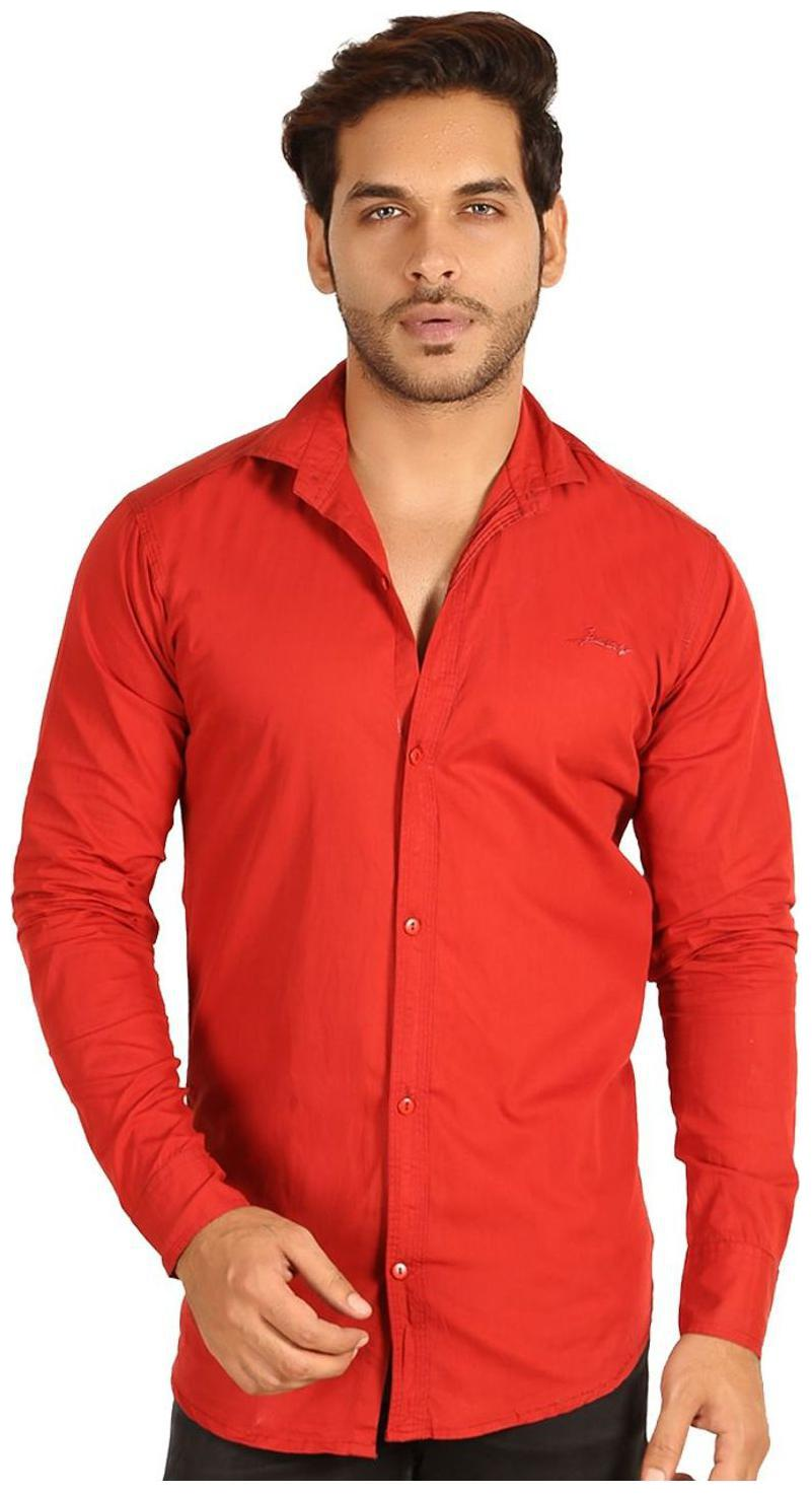 MESH MEN'S SOLID CASUAL RED SHIRTS PARTY WEAR COTTON SHIRTS