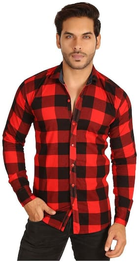 dbd4f6d388 MESH MEN'S SOLID CASUAL BLACK RED CHECK SHIRTS PARTY WEAR COTTON SHIRTS