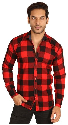 MESH MEN'S SOLID CASUAL BLACK RED CHECK SHIRTS PARTY WEAR COTTON SHIRTS