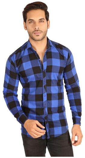 MESH MEN'S SOLID CASUAL BLACK  BLUE CHECK SHIRTS PARTY WEAR COTTON SHIRTS