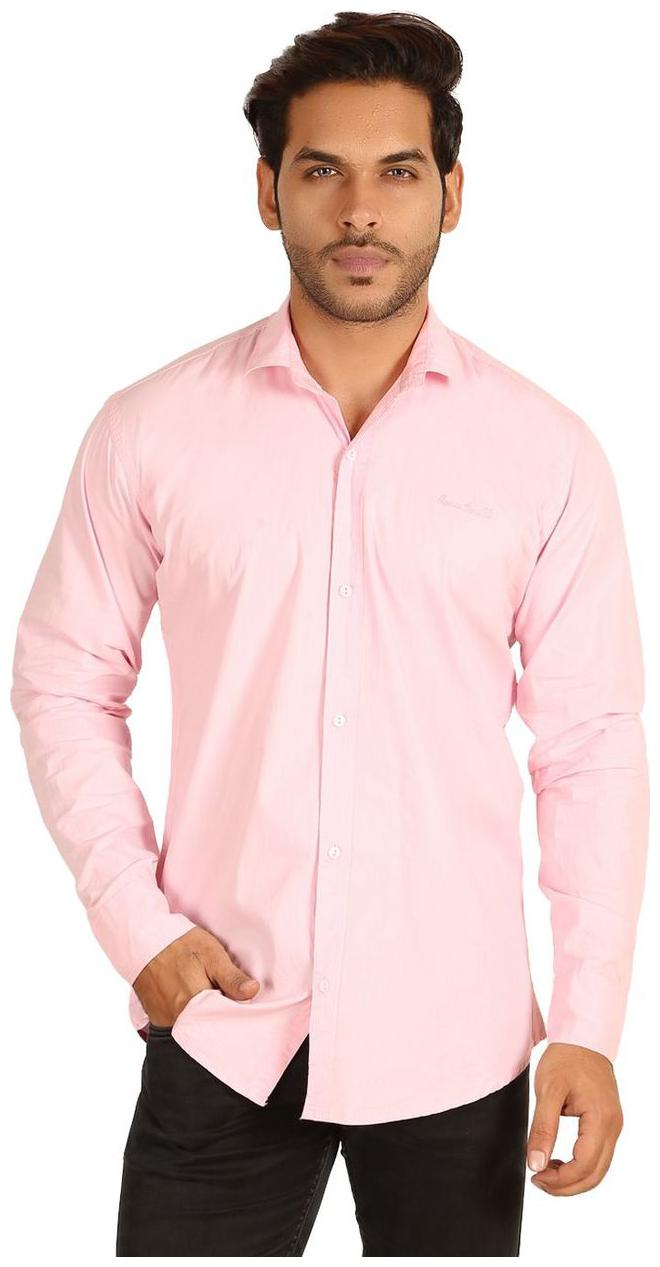 MESH MEN'S SOLID CASUAL PINK SHIRTS PARTY WEAR COTTON SHIRTS