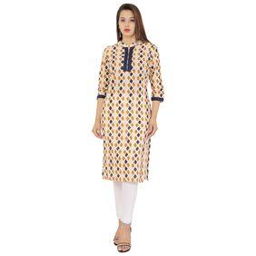 Metro Fashion Women Cotton Printed Straight Kurta - Multi