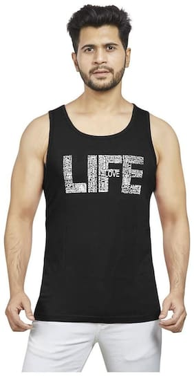 METRO MONK 1 Sleeveless Round Neck Men Gym Vest - Black