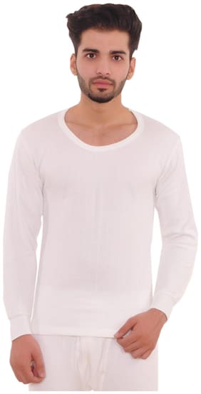 MEXMY Men Cotton Thermal Top - White