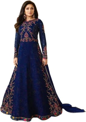 MF Botique Blue Georgette Embroidered Semi-stitched Gown