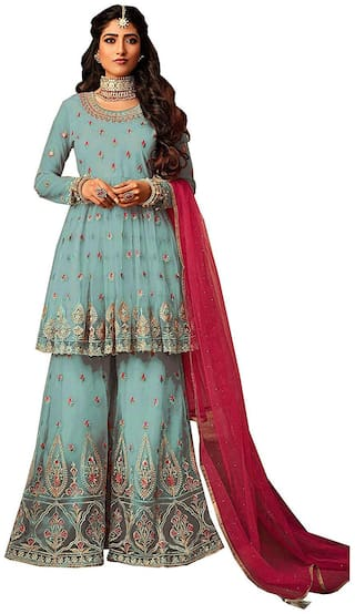 MF BOTIQUE Blue Semi Stiched Sharara Dress Materials