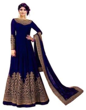 MF Botique Georgette Floral Dress Material - Blue