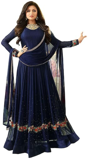 MF Botique Bue Georgette Embroidered Semi-stitched Gown