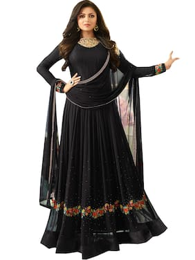 MF Botique Black Georgette Embroidered Semi-stitched Gown