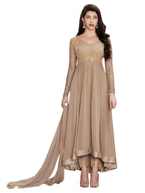 MF Botique Beige Georgette Embroidered Semi-stitched Gown