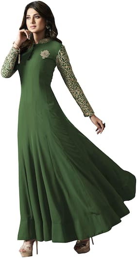 MF Botique Green Georgette Embroidered Semi-stitched Gown