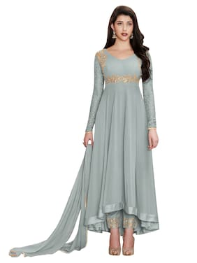 MF Botique Grey Georgette Embroidered Semi-stitched Gown