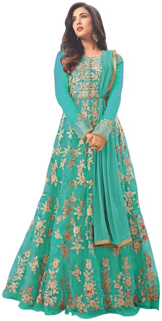 MF Botique Green Net Embroidered Semi-stitched Gown