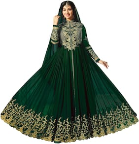 MF BOTIQUE Green Georgette Embroidered Semi Stitched Gown