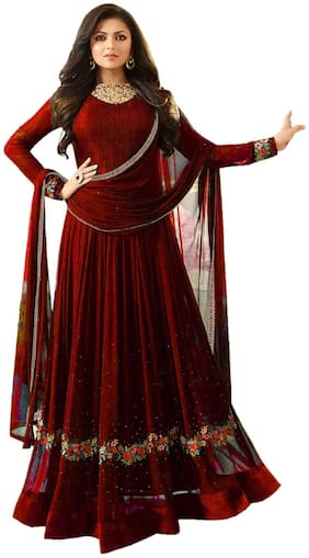 MF Botique Maroon Georgette Embroidered Semi-stitched Gown
