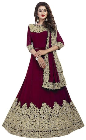 MF Botique Georgette Mix & Match Dress Material - Maroon