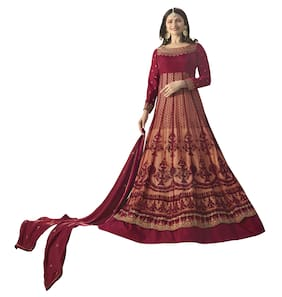 MF Botique Maroon Satin Silk Embroidered Semi-stitched Gown
