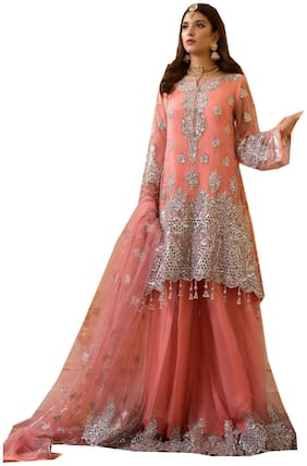 MF BOTIQUE Orange Semi Stiched Sharara Dress Materials