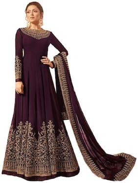 MF Botique Purple Georgette Embroidered Semi-stitched Gown