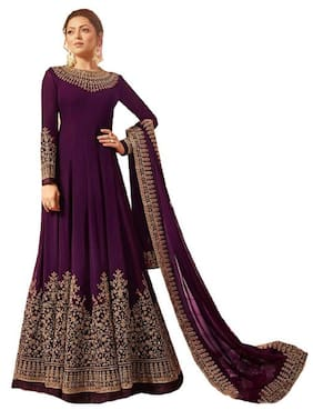 MF Botique Purple Georgette Embroidered Semi-stitched Gown