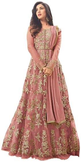 MF Botique Peach Net Embroidered Semi-stitched Gown