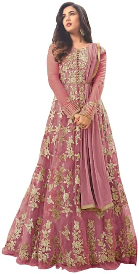 MF BOTIQUE Pink Net Embroidered Semi Stitched Gown