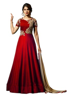 MF Botique Red Silk Embroidered Semi-stitched Gown