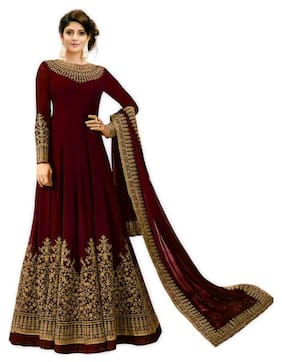 MF Botique Georgette Floral Dress Material - Maroon