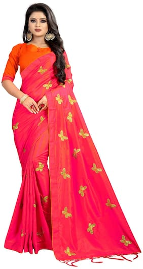 MF Botique Silk Universal Embroidered work Saree - Pink , With blouse
