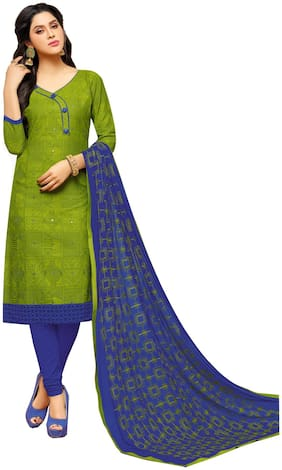 MF Cotton Printed Dress Material for Kurta - Green