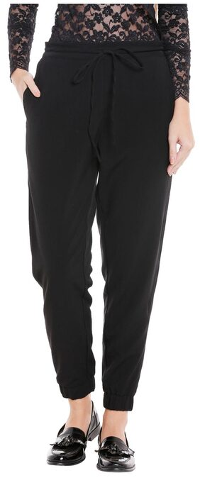 Globus Women Regular Fit Mid Rise Solid Pants - Black