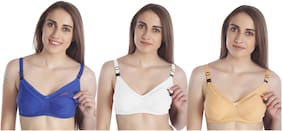 MiEstilo Seamed Breastfeeding Nursing Maternity Bra for Womens Combo (Pack of 3)