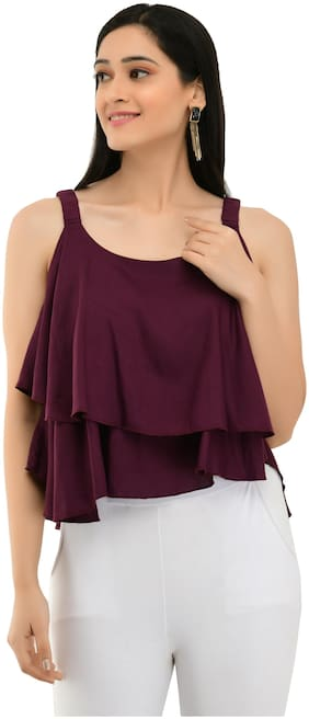Milky Way Women Solid Regular top - Maroon