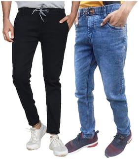 MILLIONS JOY Men Black & Blue Slim Fit Jeans