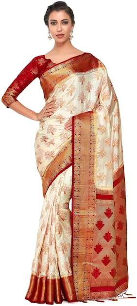 Silk Kanchipuram Silk Saree ,Pack Of 1