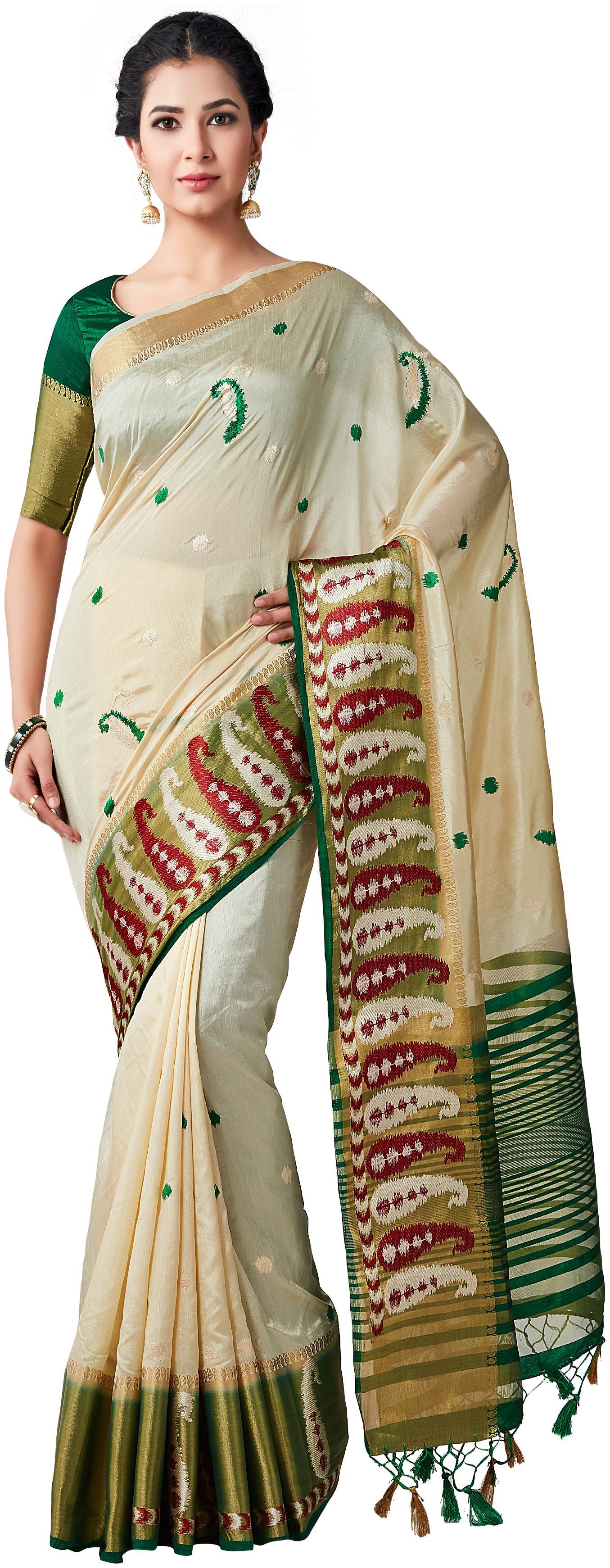 Mimosa kanchipuram Style tussar silk Saree Color  Beige