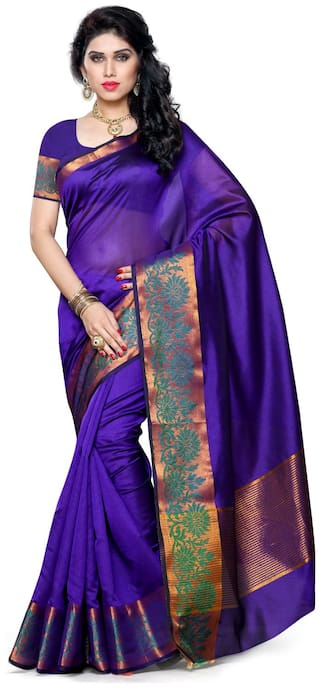 Mimosa Blue Solid Universal Regular Saree , With blouse
