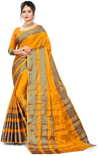 Minakshi Creation Cotton Striped Yellow Regular Saree Women