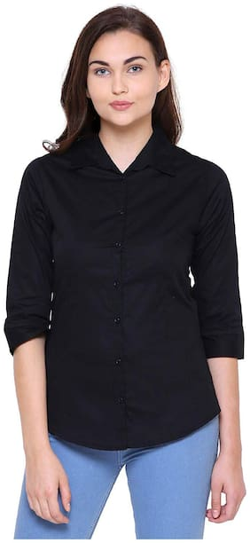 MINARO Women Black Solid Slim Fit Shirt