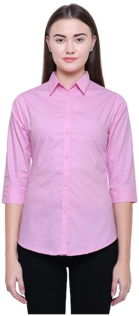 MINARO Women Slim fit Solid Shirt - Pink
