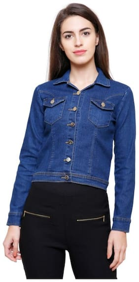 MINARO Women Solid Denim jacket - Blue