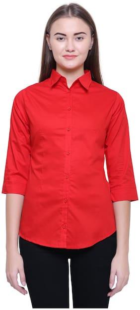 MINARO Women Red Solid Slim Fit Shirt