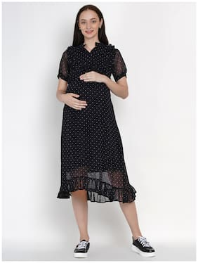 Mine4Nine Women Maternity Dress - Black Xxl