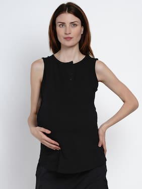 Mine4Nine Women Maternity Top - Black L